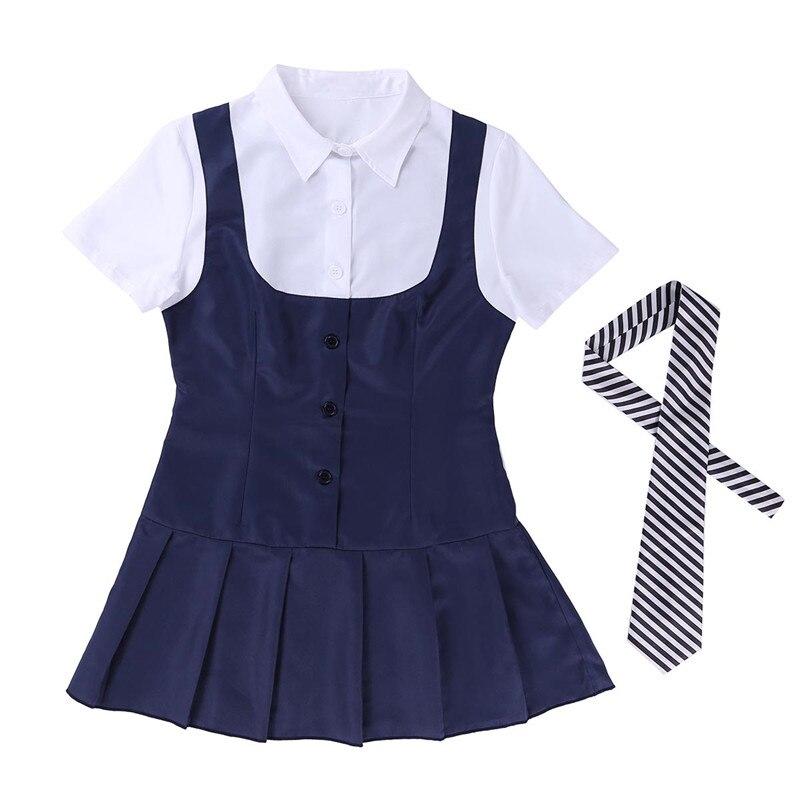 Women Adult Schoolgirl Student Costume Uniform Short Sleeve Fancy Shirt Dress