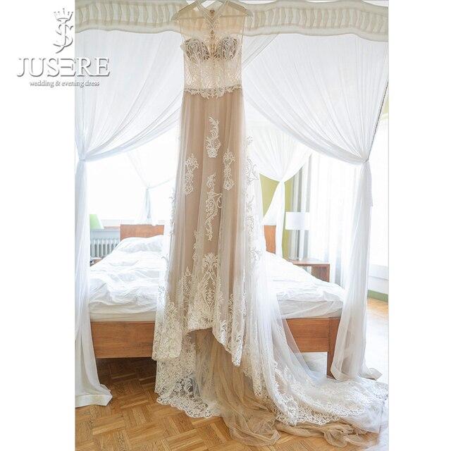 2019 แชมเปญเจ้าสาวชุดทรัมเป็ตงานแต่งงานชุดเดรสประดับด้วยลูกปัดชุดปรับแต่ง Nude Bodice เย็บปักถักร้อยลูกไม้