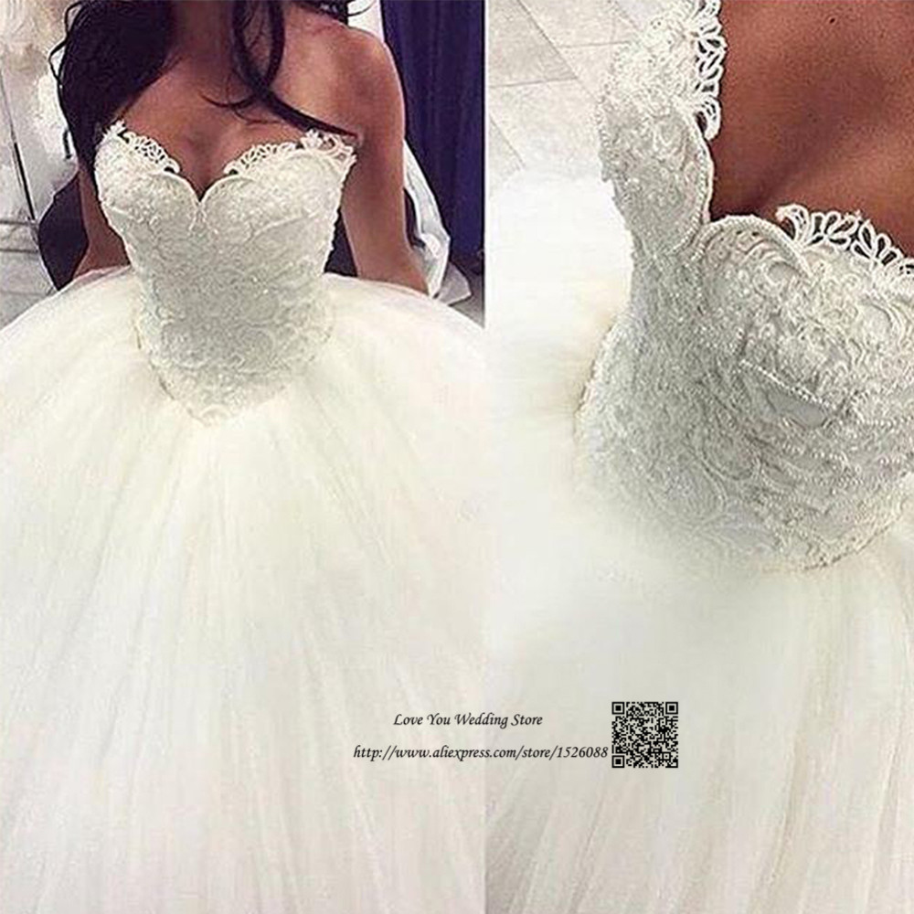 Real Vintage Wedding Dress Lace Vestido de Noiva Plus Size Wedding Gowns  Pearl Tulle Floor Length Bride Dresses 2017 Corset Back 6ae6923f2113