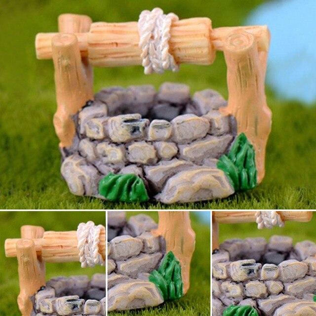 1 adet DIY bahçe minyatürleri dekorasyon eski ev su kuyusu çok renkli peri bahçe partisi Mini Bonsai süs 34*27mm
