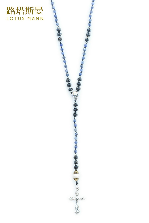 Lotus Mann Sodalite et perles noires, 925 collier long croix en argent en vacances