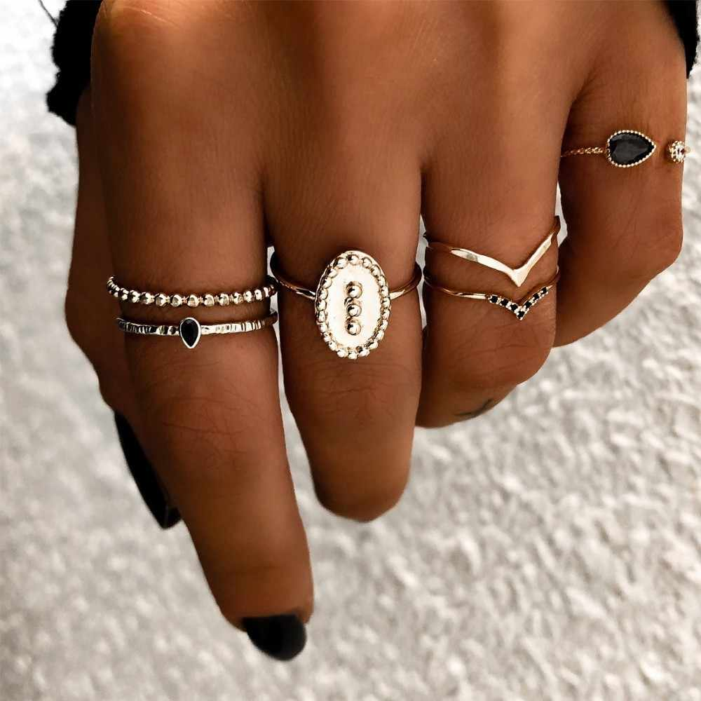 Fashion Multi-piece Women Finger Ring Sets 2019 Sweet Crystal Water Drop Bohemia Charm Ring Sets For Women Party Jewelry Gift