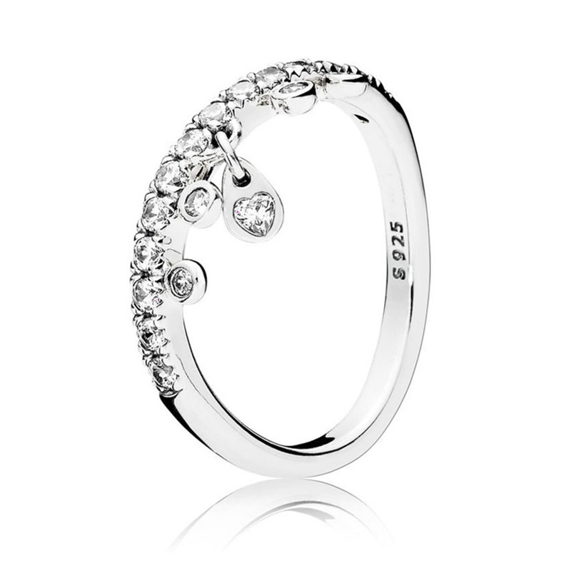 Fashion 925 Sterling Silver Zirconia Chandelier Droplets Ring For Women Wedding Engagement Ring Fine Pandora Jewelry Original