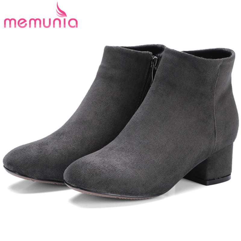 MEMUNIA Flock zip variety of color ankle boots for women fashion shoes in spring autumn womens boots med heels big size 34-43 memunia 2017 fashion flock spring autumn single shoes women flats shoes solid pointed toe college style big size 34 47
