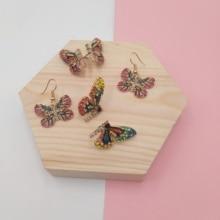 Fairy Tale Rhinestone Butterfly Jewelry Set Colorful Butterfly Wing Earrings Bracelet Lace Choker Necklace Wedding Jewelry Gift european lace choker necklace set