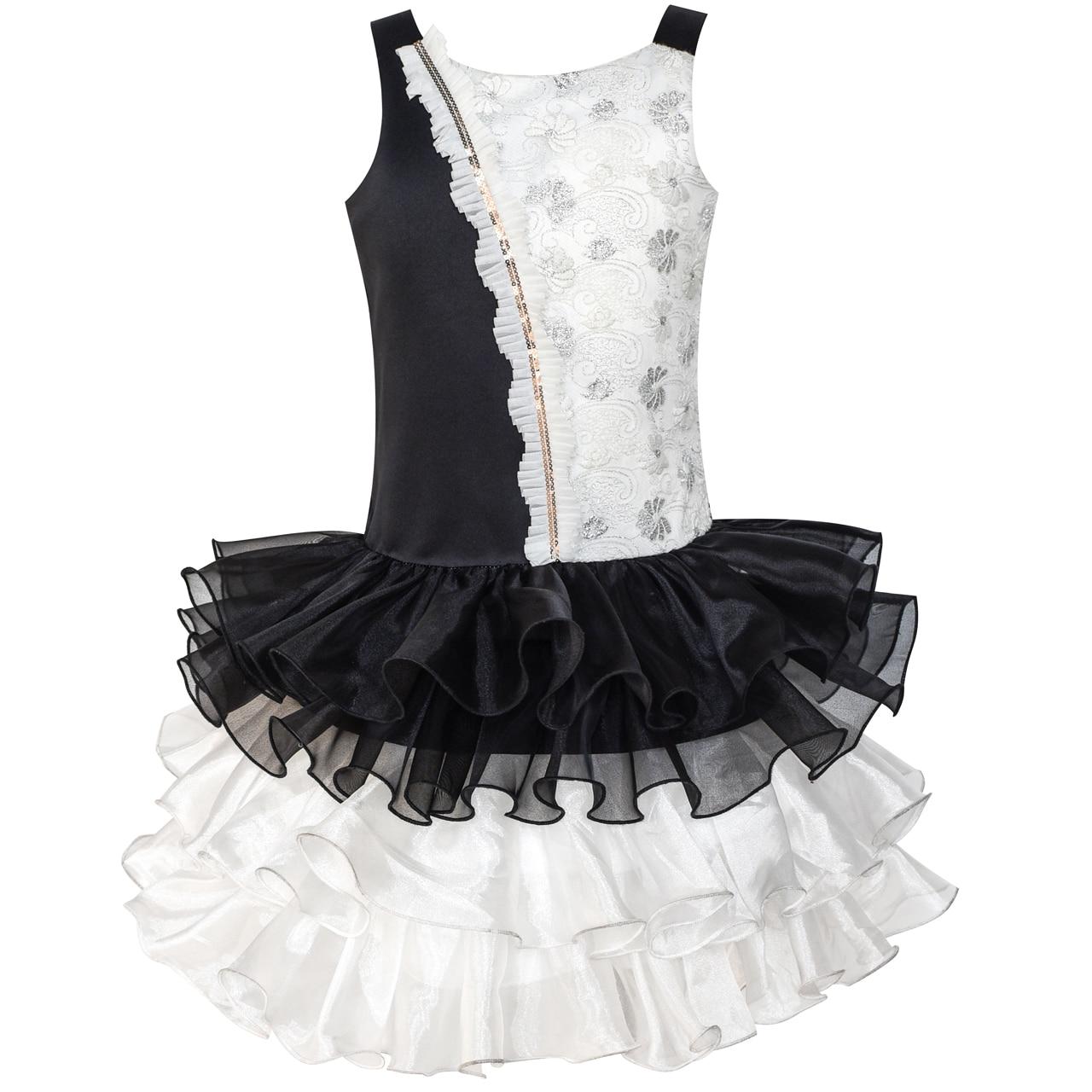 Girls Dress Black White Color Contrast Tutu Dancing Dress 2018 Summer Princess Wedding Party Dresses Girl Clothes Size 4-8 classic contrast color club mini dress black white