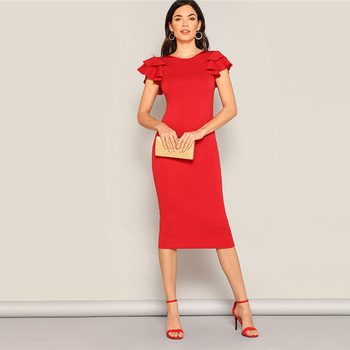 red vintage midi dress with ruffle short sleeves