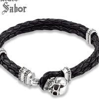 0ecb3cbefe7f Accessories Leather Bracelet With Skull Crap Rebel 925 Sterling Silver  Heart Jewelry 2019 Brand New Fashion