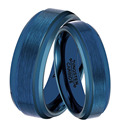 1 Pair 8mm & 6mm His & Hers Promised Marriage Ring Set Comfprt fit Mens Womens Blue Tungsten Carbide Weddng Band