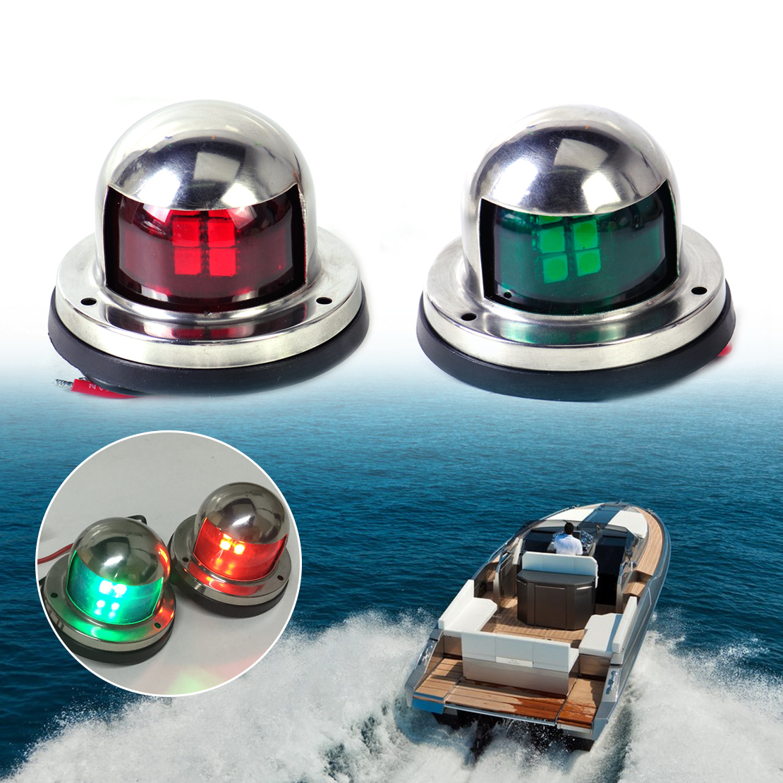 DWCX 1 Pair 12V LED Bulb Bow Stainless Steel Navigation Light Red Green Sailing Signal Light Fit for Marine Boat Yacht