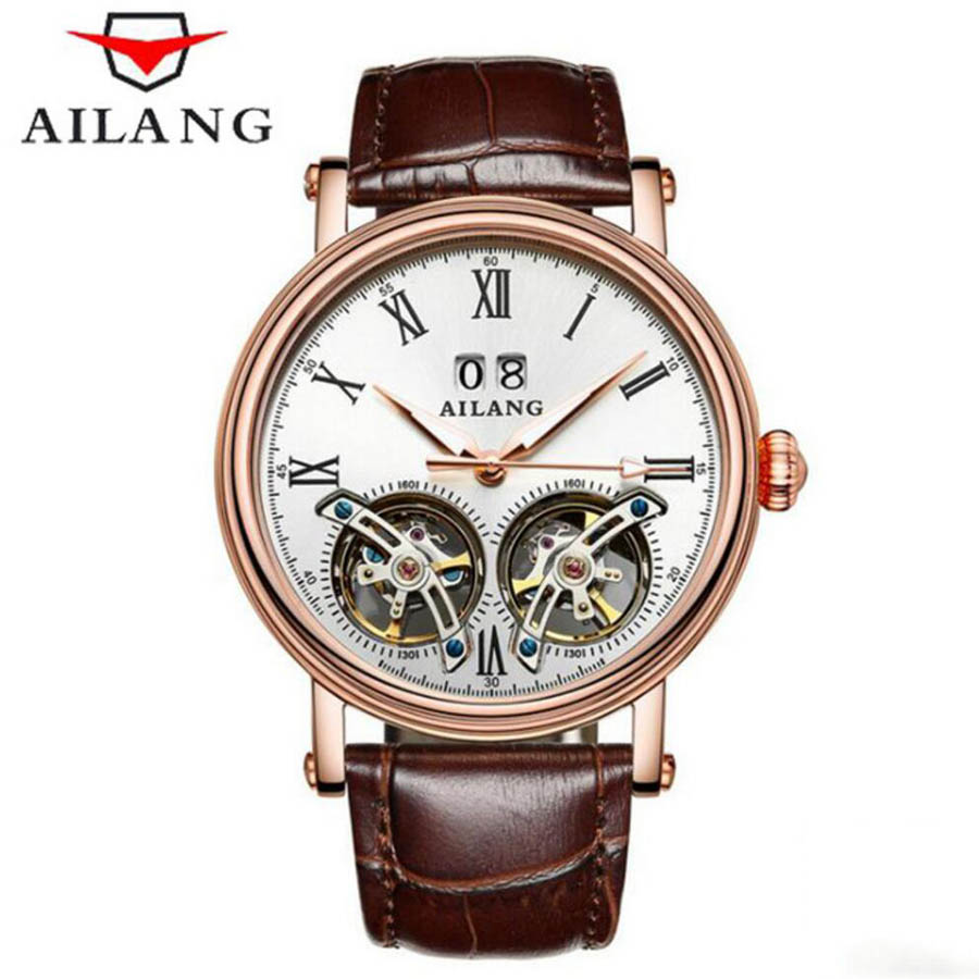 Genuine Luxury AILANG Brand Men Self-wind waterproof leather strap automatic mechanical male watch fashion Dual Tourbillon watch mce brand men self wind waterproof leather strap automatic mechanical male black white dial fashion tourbillon watch men clock