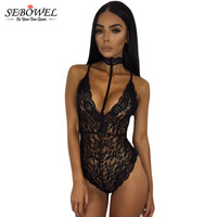 2017 Summer Lingerie Camisole Sexy See Through Black Sheer Lace Choker Neck Teddy Lingerie Deep V