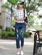 Подлинная Синий Голубь BF стиль моды свободно отверстие отбортовки джинсы женские шаровары Женщина Одежда бесплатная доставка