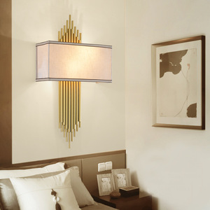 Image 2 - Chinese Wall Lamp E14 Led Bulb Metal Pipe Living room Wall Decoration Hotel Aisle Wall Lights Bedroom Wall Sconce Surface Mount