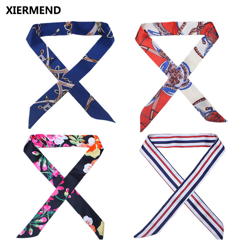 2018 New Slender Tie  Bag Handle Skinny Scarves Small Ribbon Decorative Scarf Bag With Ladies Head Narrow Long Scarf