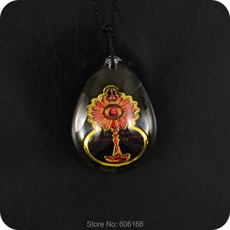 2016 NOVO o Mais Sagrado Sacramento Católico bijuterias Religiosa Ortodoxa  Christan Pingente De Vidro Colar Amuleto 3c717978a1