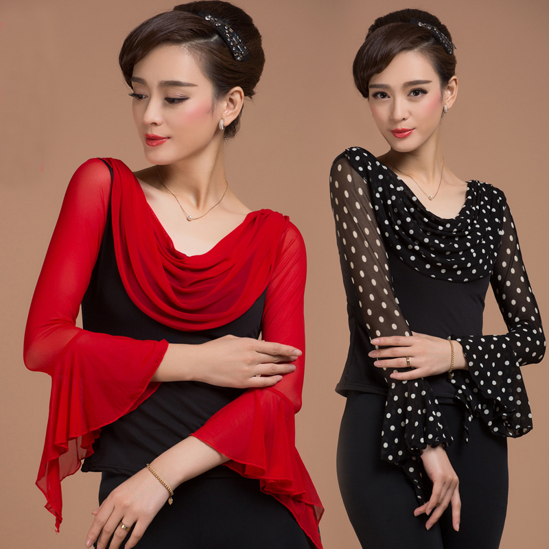 Fashion Ballroom Sexy Prom Long-sleeve Gauze Ruffle Latin Dancing Clothes Top For Women/female,costume Performance Wears Y931