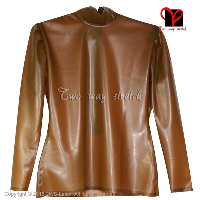 Сексуальная прозрачная коричневая латексная блузка с длинными рукавами резиновая рубашка Gummi Униформа блейзер верхняя одежда размера плюс...