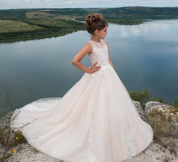 Long White Ivory Flower Girl Dresses Girls Pageant Dresses Gowns Holy First Communion Dresses Wedding Birthday