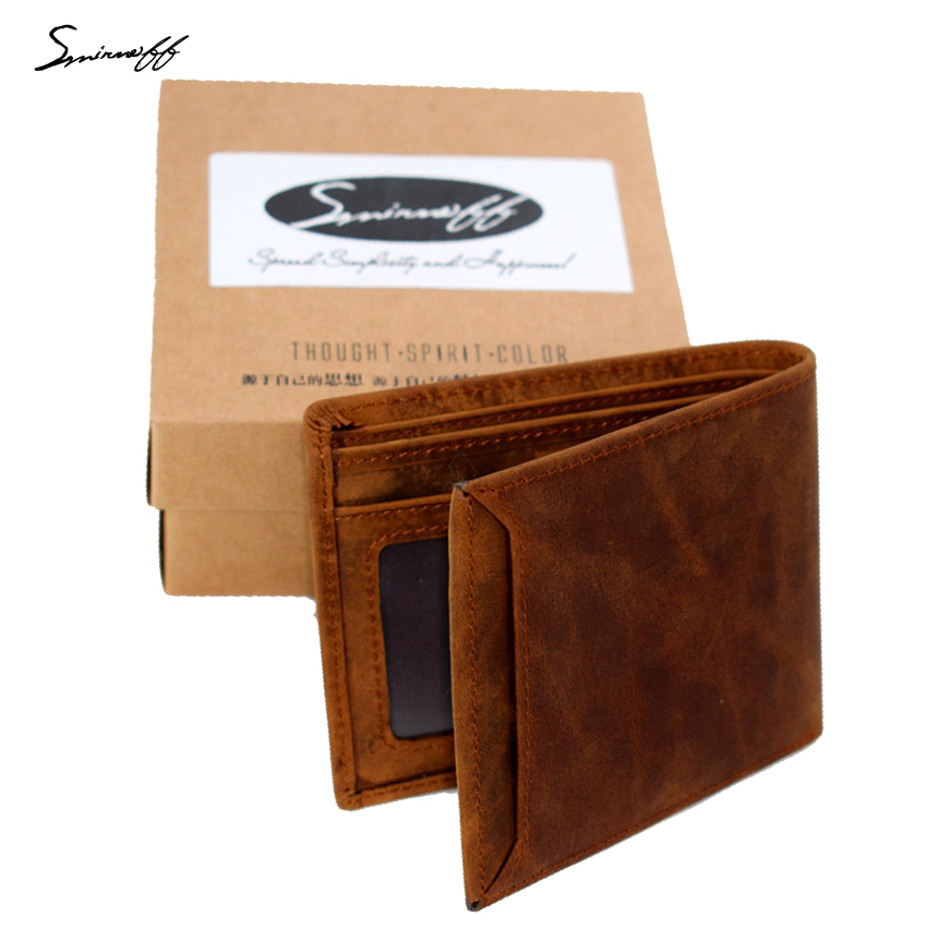 SMIRNOFF Crazy Horse Leather Wallet Men Short Money Purse Cross Design Custom Name Retro Cowhide Genuine Leather Men Wallet gathersun the secret life of walter mitty retro wallet handmade custom vintage genuine wallet crazy horse leather men s purse