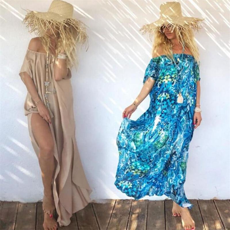 2019 Sexy Women Bikini Cover Ups Beach Kaftan Dress Off Shoulder Loose Coverups Long Beach Tunika Swim/bikini Coverup Chiffon