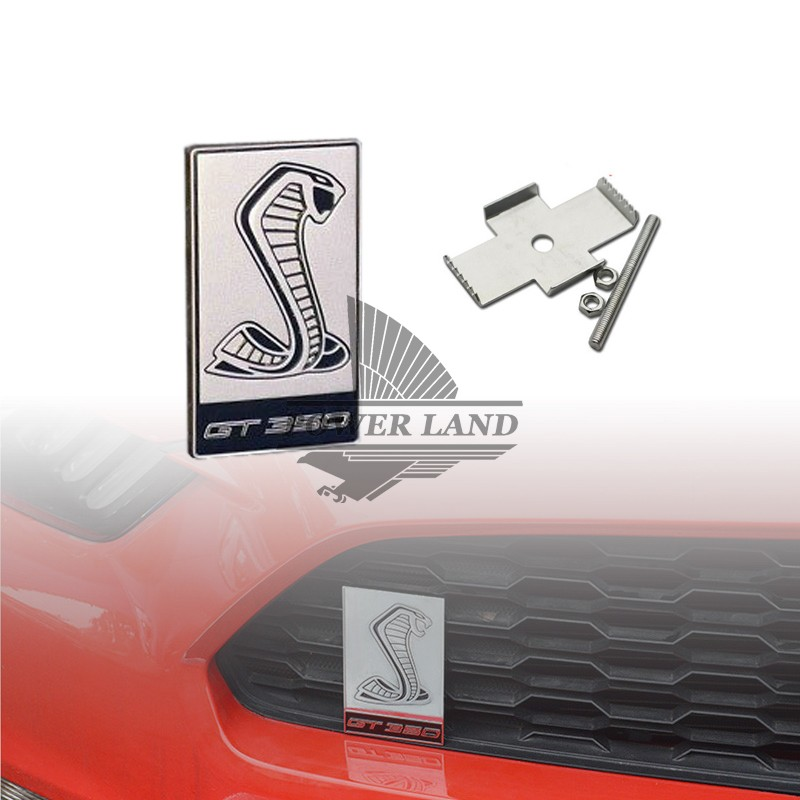 Car Styling Metal Cobra GT350 Logo Front Hood Grille Badge Grille Emblem Auto Sticker Car Decal For Ford Mustang Shelby Silver 3d metal s line sline sticker car front grille adhesive emblem badge accessories styling for audi a1 a3 a4 a5 a6 a7 q3 q5 q7 tt