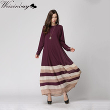 WEIXINBUY 2018 Women Sheer Chiffon Islamic Wear Abaya Jilbab Hijab Muslim Rainbow Dress M/L New Y4