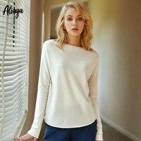 100% кашемировый свитер женский белый топ весна лето вязаный кашемировый свитер, пуловер корейский стиль с круглым вырезом Повседневный уютн
