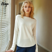 2 Ply 100% Pure Cashmere White Sweater Women Spring Top Knitted Boyfriend Sweater Pullover Boat Neck Casual Cosy Pop Jumper