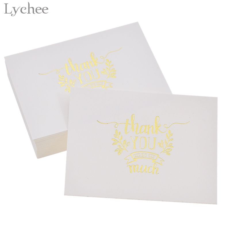 Lychee 48pcs Mini Gold Embossed Thank you Card Valentine Christmas