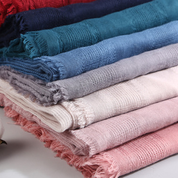 90*190CM Spring new cotton and linen national wind solid color hollow scarf Sen literary wind ladies shawl .MY-MSL032