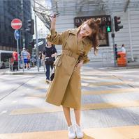 Long Style Turn Down Collar Slim Trech Coat Female Full Sleeve Solid Color Women S Jackets