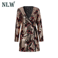 Lily Rosie Girl Sexy V Neck Mini Sequin Dresses 2018 Spring Summer Sexy Sequins Mini Dress