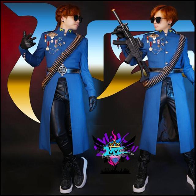 HOT ! 2016 new men singer DJ right GD Zhi-long navy blue uniform sanding wool trench coat knight costume plus size clothing