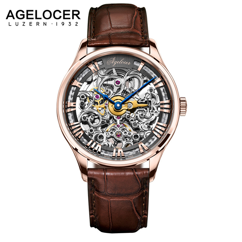AGELOCER Skeleton Watch Transparent Roman Number Watches Men Luxury Brand Mechanical Men 40mm Watch Steampunk Wristwatches vintage cool black hollow case with roman number dial skeleton steampunk mechanical pocket watch with chain to men women