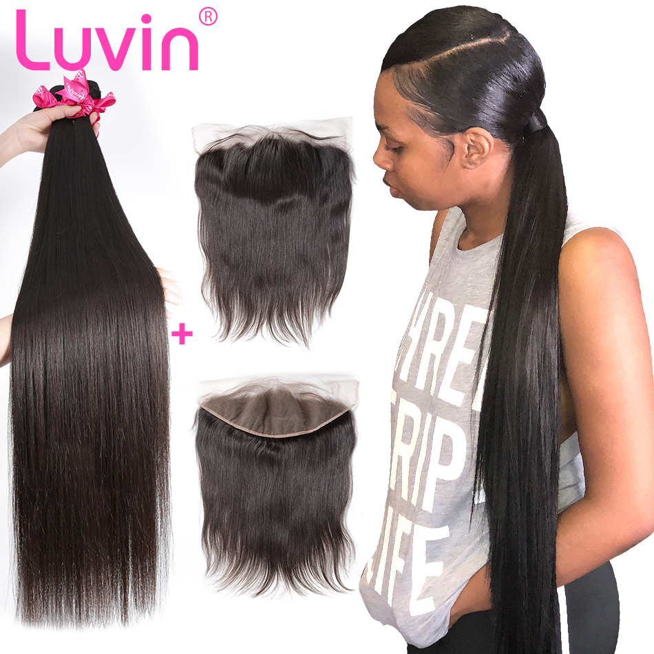 Luvin 28 30 32 40 Inch Peruvian Hair Weave 3 4 Bundles With 13x4 Lace Frontal