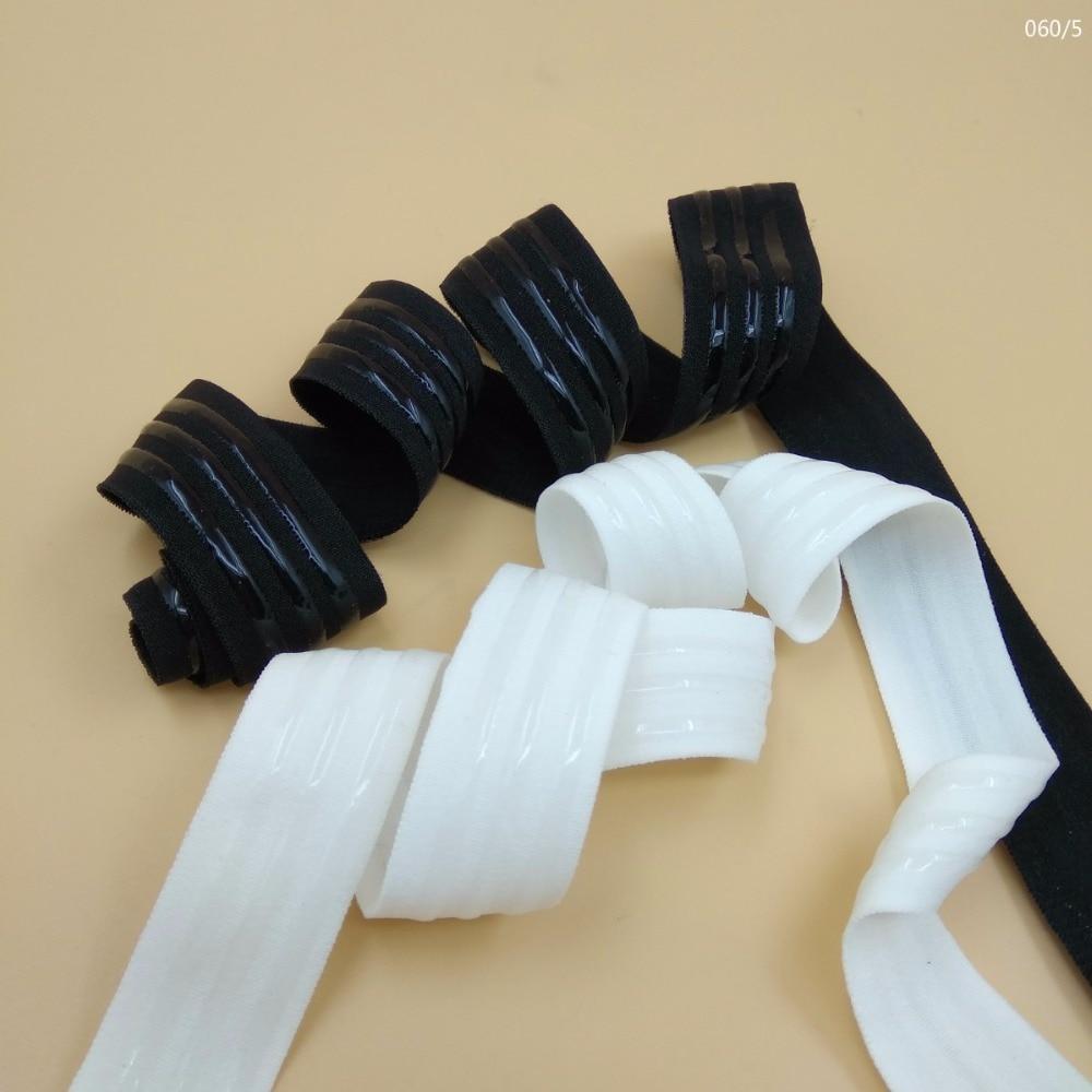 1 inç elastik bant ile 3 silikon şerit 25mm nonslip yumuşak elastik dokuma çanta spor giyim aksesuarları 5 metre siyah beyaz