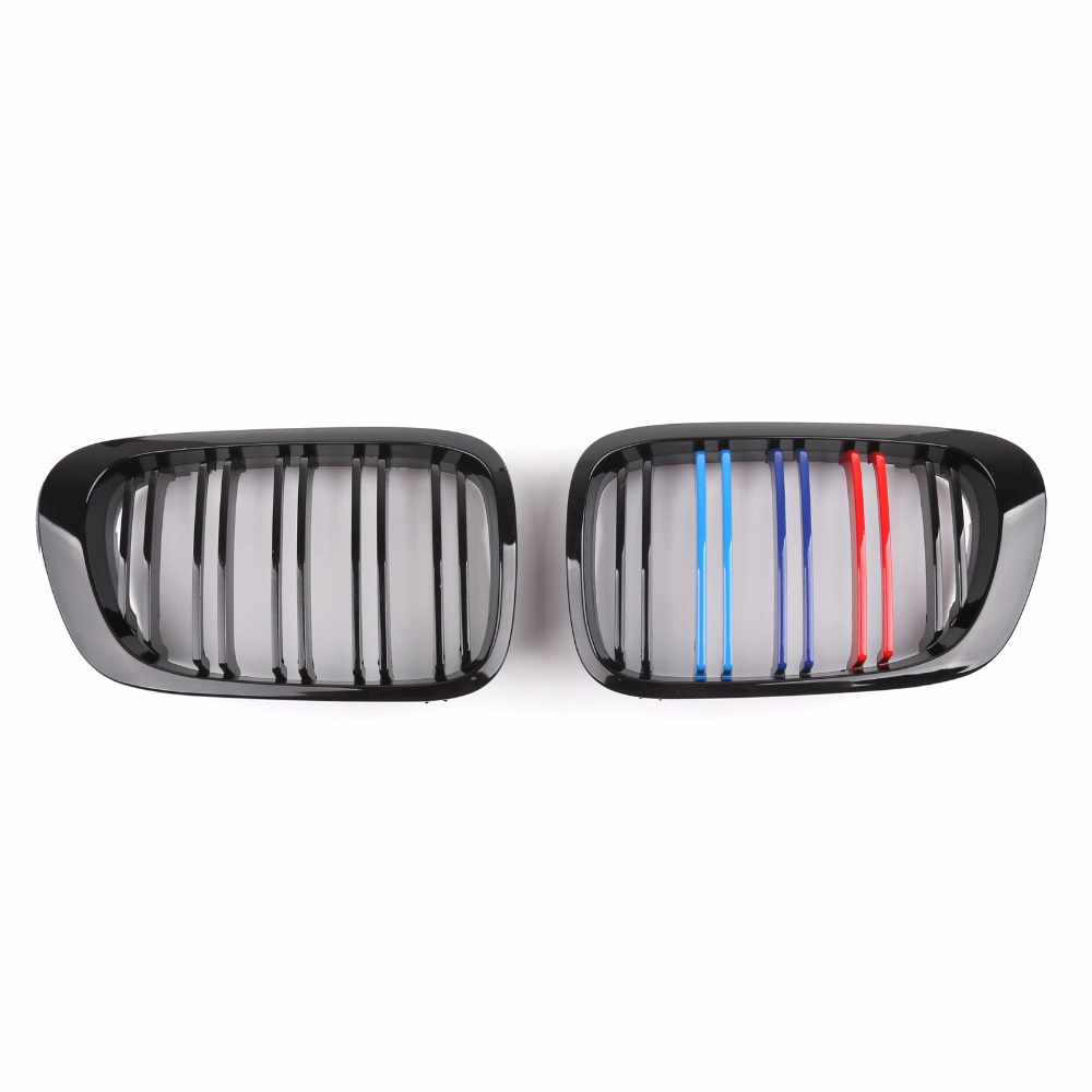 Areyourshop Car Front Bumper Hood Kidney Grille For BMW E46 3 2Dr 1999-2002 Black ABS Plastic Car Auto Parts Cover Grille