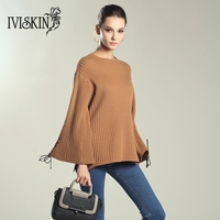 2017 Autumn Winter Flare Sleeves Loose Sweater Women S Solid O Neck Pu Strings Knitted Female