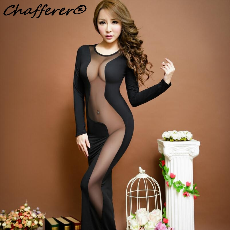 Chafferer Women Nightclub Mesh Spliced Party Sexy Lingerie Hot Dress Black Long Sleeve Racy Costume 2017 Fashion Fancy Underwear