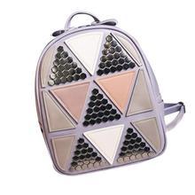 Мода 2017 г. треугольник рюкзаки Diamond решетки сумка Повседневная Лазерная Cube Рюкзак Тенденции классические женские рюкзаки Водонепроницаемый девушка