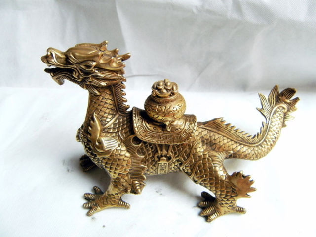 China Collection Brass dragon Sculpture