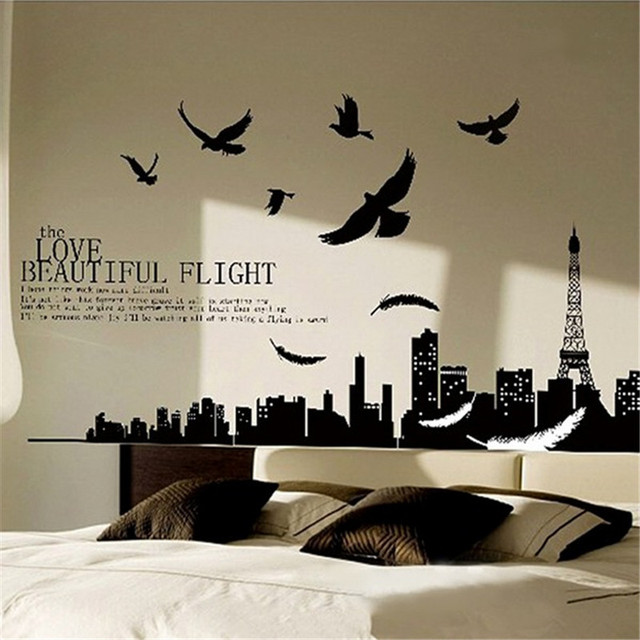 Solid black city flying birds quote removable pvc vinyl decals home decoration art mural for living