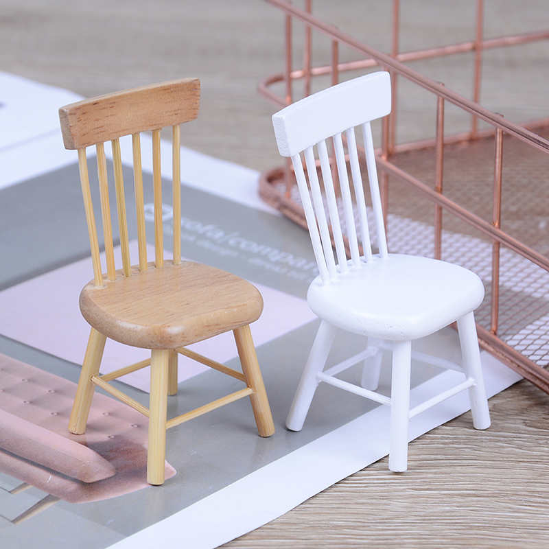 New 1:12 Scale Classic Pretend Play Furniture Toys for Children Kids Dollhouse Miniature Furniture Wooden Chair