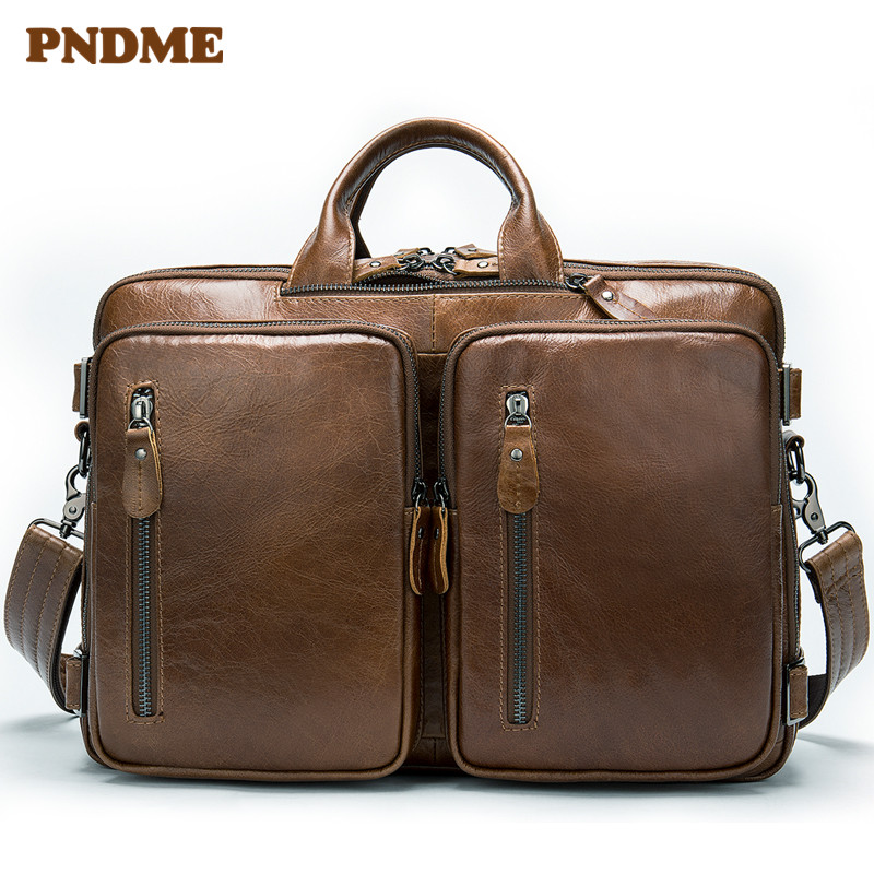 Leather business man bag large capacity laptop horizontal style one shoulder slant briefcase
