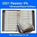 O envio gratuito de 0201 SMD SUPEROHM Resistor 1/16 W Livro Amostra 5% Tolerância 106valuesx50pcs = 5300 pcs Kit Resistor 0R ~ 1.5 M