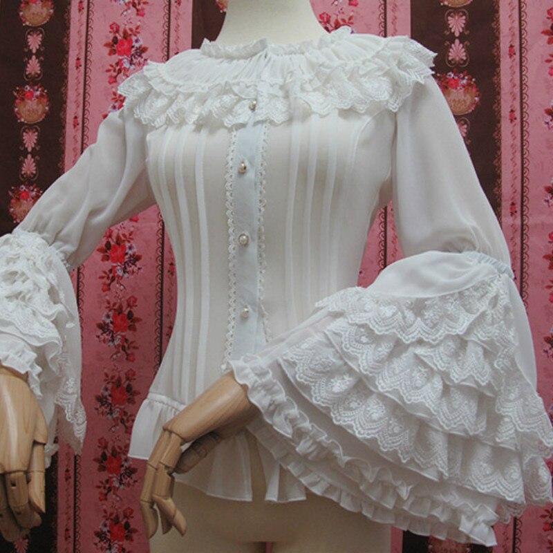 Chemisier en dentelle Lolita à manches longues Style rétro chemise blanche en mousseline de soie de grande taille avec volants en dentelle - 4