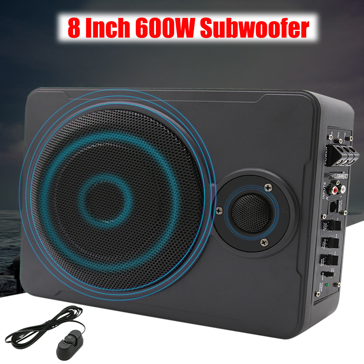 New 8 Inch Bluetooth Car Home Subwoofer Under Seat Sub 600W Stereo Subwoofer Car Audio Speaker Music System Sound Woofer