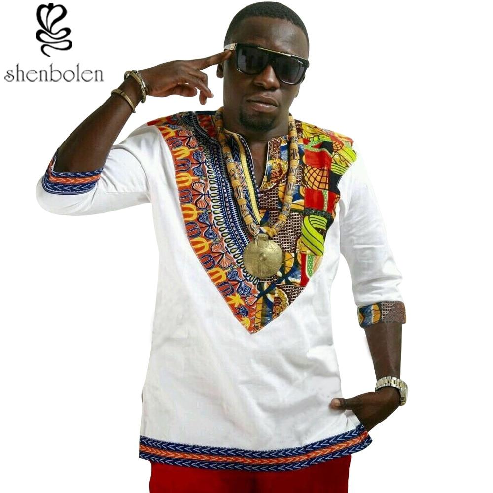 2018 summer autumn mens african clothing dashiki clothes shirt cotton stitching Batik printing tops man T shirt
