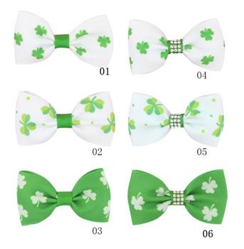 6color Hair Bow Green Hair Clips Printed Shamrock Hair Accessories For Girls St patrick's day Headwear Boutique Clover Knot Bows